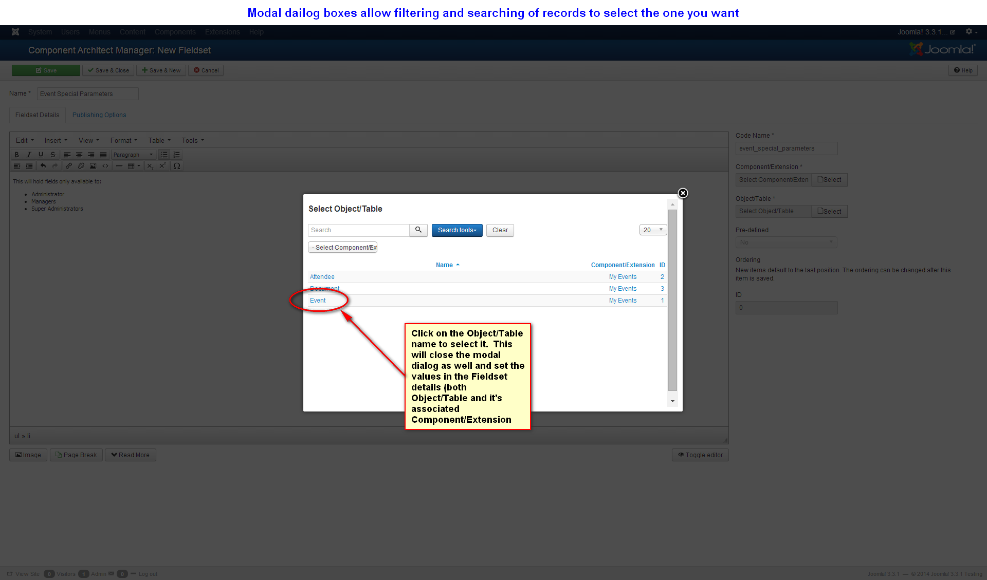 Step 19 – Modal Dialog to Select a Link